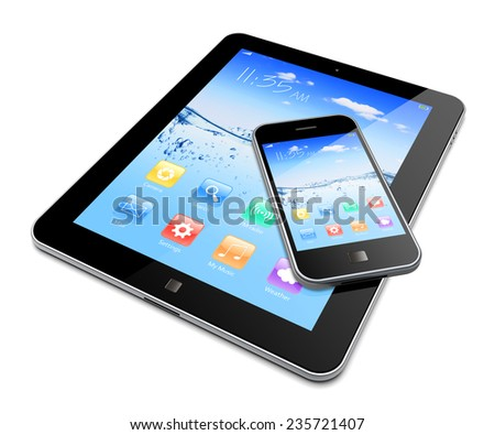 Tablet PC and mobile smartphone with water wave splash wallpaper and apps on a screen. - stock photo
