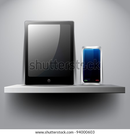 Tablet pc and smart phone on shelf:raster version - stock photo