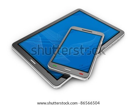 Tablet PC and smartphone - stock photo