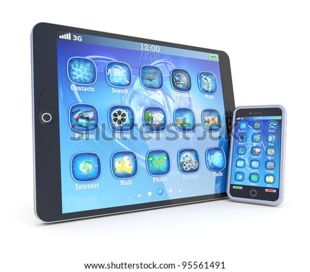 Tablet PC and smartphone with 3d applications isolated on white - stock photo