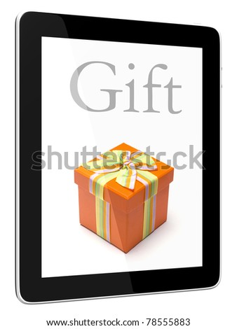 Tablet PC Computer and gift on screen - stock photo