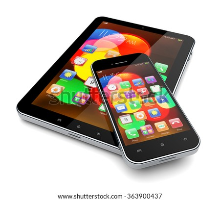 Tablet PC computer and mobile phone with colorful bokeh wallpaper and apps on a screen - stock photo