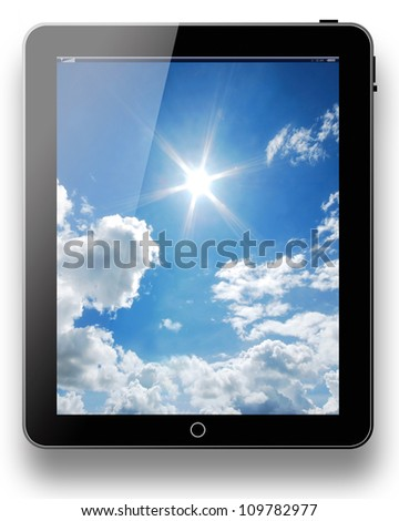 tablet pc computer modern technology touch for the future background black model with blue sky sunny sun background on white background for design - stock photo