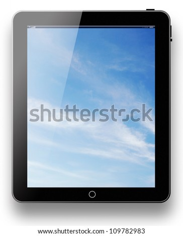 tablet pc computer modern technology touch for the future background black model with blue sky background on white background for design - stock photo