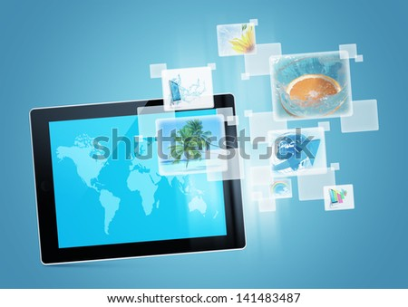 tablet pc computer tecnology background design digital picture future - stock photo