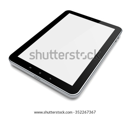 Tablet PC computer with blank screen on a white background - stock photo