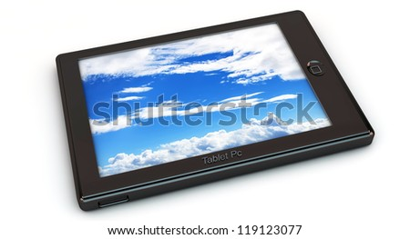 Tablet Pc in 3d on white background - stock photo