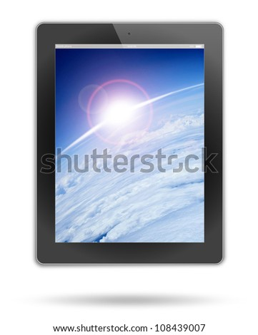 tablet pc, isolated on background white - stock photo