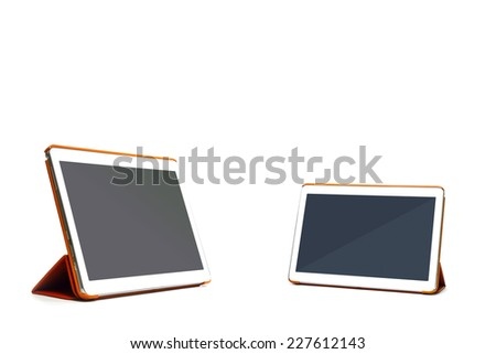 tablet pc isolated on white with clipping path  - stock photo