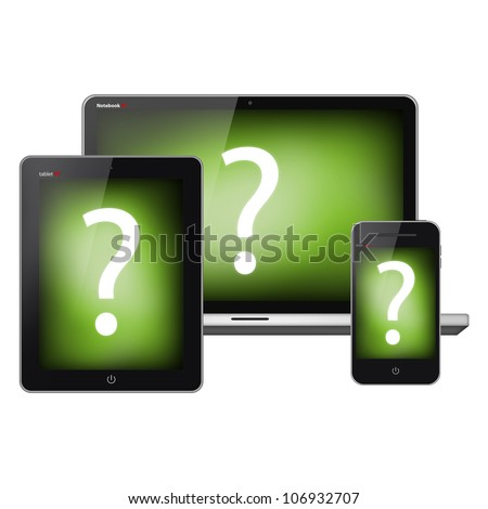 Tablet pc, mobile phone and notebook isolated on white background - stock photo
