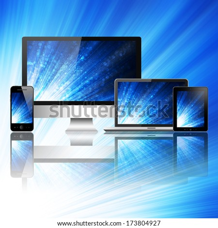 Tablet pc, mobile phone, computer and notebook - stock photo