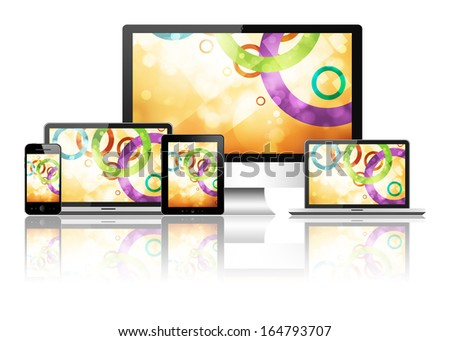 Tablet pc, mobile phone, laptop and computer - stock photo