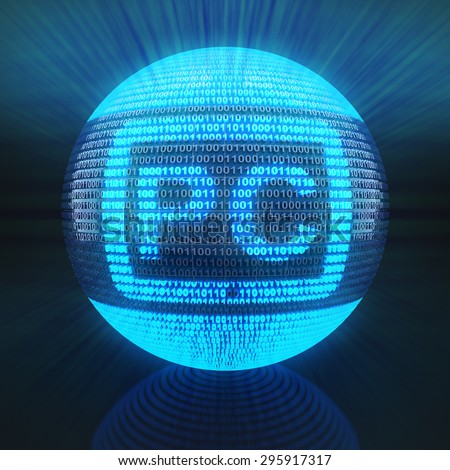Tablet PC symbol on globe formed by binary code, 3d render - stock photo