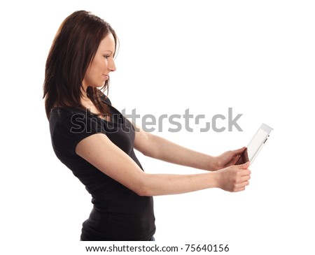 Tablet PC teen - stock photo