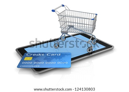 tablet pc with a credit card and a shopping cart (3d render) - stock photo