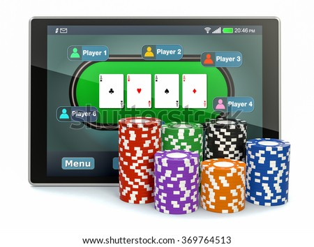 tablet pc with a poker app and stacks of poker chips on white background (3d render) - stock photo