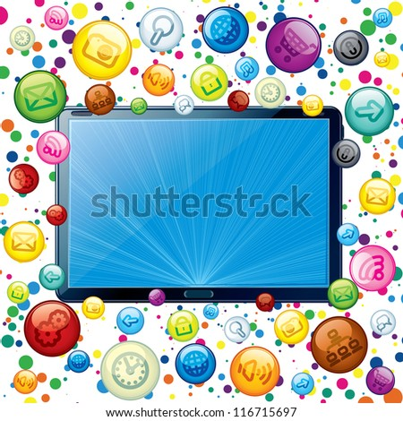 Tablet PC with Cloud of Apps Icons. Conceptual Background - stock photo