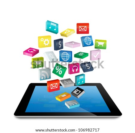 Tablet PC with cloud of colorful application icons, isolated on white background (Save Paths For design work) - stock photo
