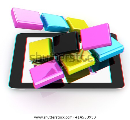 Tablet PC with colorful CMYK application icons isolated on white background . 3D illustration. Anaglyph. View with red/cyan glasses to see in 3D. - stock photo
