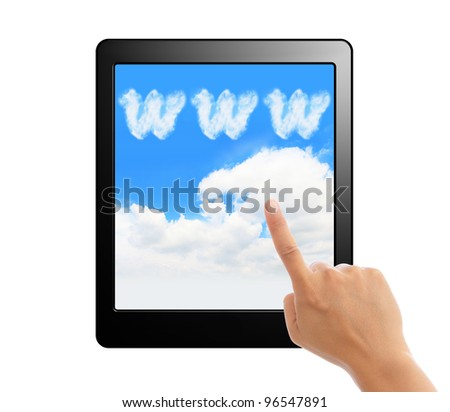 Tablet pc with hand finger and www cloud sky screen for cloud computing concept isolated on white background - stock photo