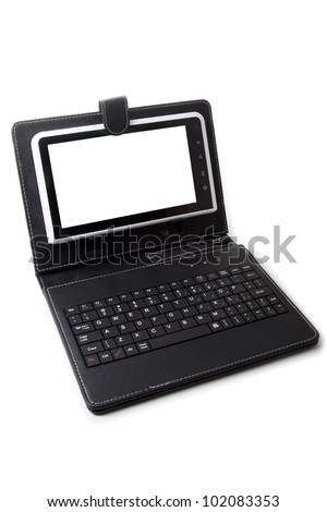 tablet pc with Keyboard and Case - stock photo