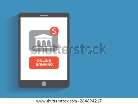 Tablet pc with online banking icon on the screen. Flat design concept - stock photo