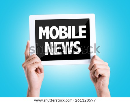 Tablet pc with text Mobile News with blue background - stock photo