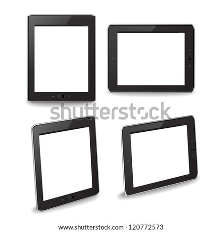 Tablet PCs that can be used for putting custom images. EPS 10 no transparencies. - stock photo