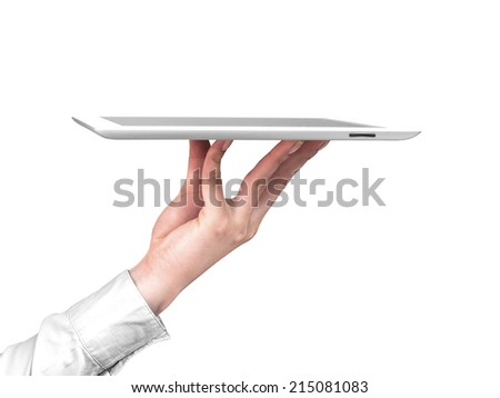 Tablet placed on the hand like a tray - stock photo