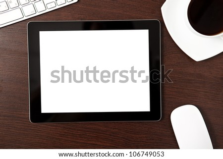 tablet touch computer gadget on the table with a businessman - stock photo