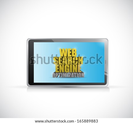 tablet web search engine optimization sign illustration design over a white background - stock photo