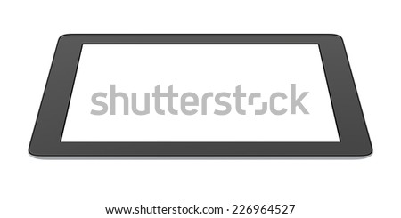 tablet with blank screen isolated on white background - stock photo