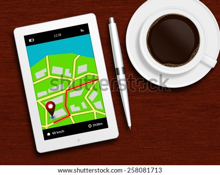 tablet with gps navigation application, coffee and pencil lying on wooden table - stock photo