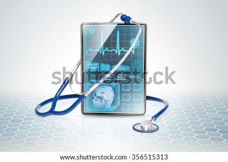 Tablet with medical data on futuristic background - stock photo