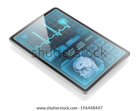 Tablet with medical information isolated on white background - stock photo
