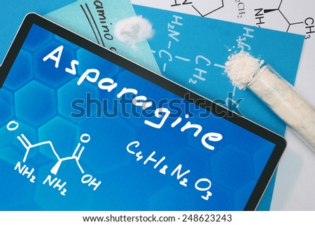 Tablet with the chemical formula of Asparagine  - stock photo