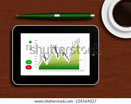 tablet with the stock chart lying on a wooden table with a cup of coffee and pen - stock photo