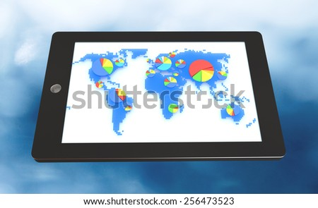 Tablet with world map and pie charts on screen on blue background - stock photo