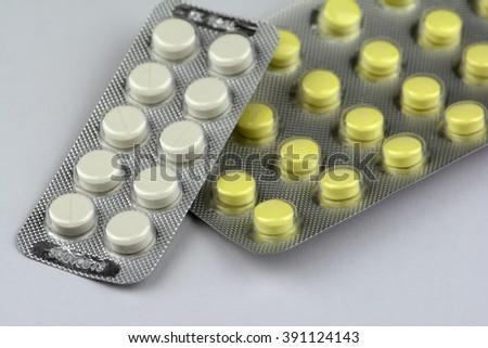 tablets and pills closeup - stock photo