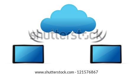 tablets connected to cloud wifi illustration design - stock photo