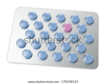 Tablets in blister pack isolated on white background. Computer generated image with clipping path. - stock photo
