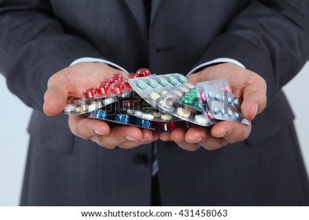 Tablets in the hands of a businessman. - stock photo