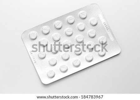 Tablets therapy pills flu in a Blister packaging antibiotic pharmacy medicine medical - stock photo