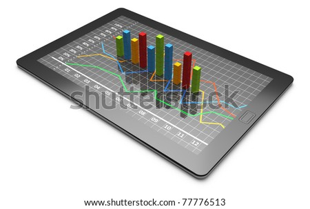 Tablets with a colorful bar graph - stock photo