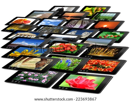 tablets with motley pictures isolated on the white background - stock photo