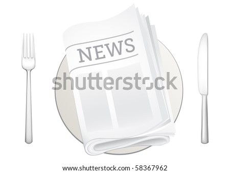 tableware and newspaper on the white background - stock photo