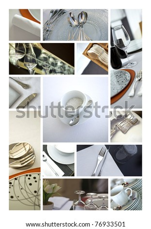 Tableware and service collage - stock photo
