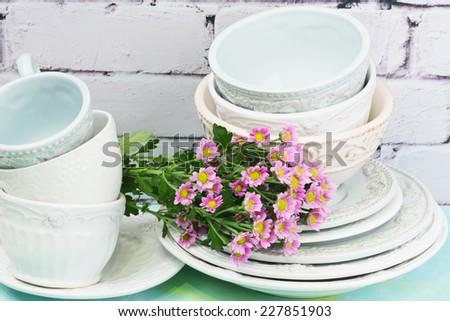 tableware  flower mugs plates shabby chic retro vintage tenderness spring - stock photo