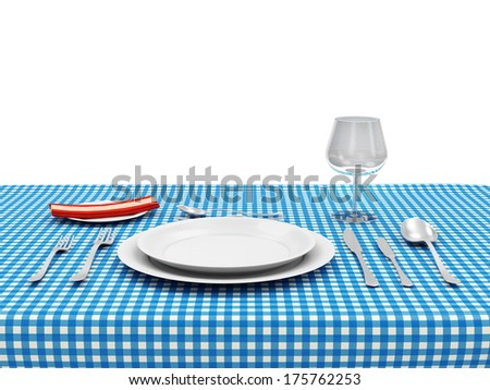 Tableware on a wooden table with cloth isolated on white background - stock photo