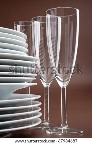 tableware, plate and glasses - stock photo